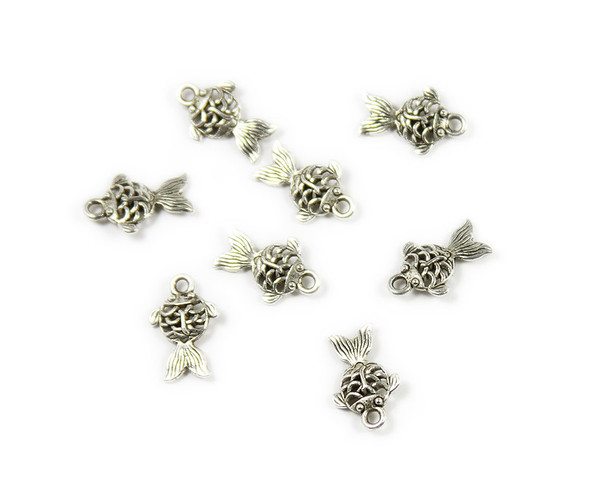 11x14.5mm  pack of 10 Bali style silver pewter fish charms