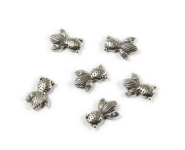 11x15mm  pack of 10 Bali style silver pewter goldfish charms
