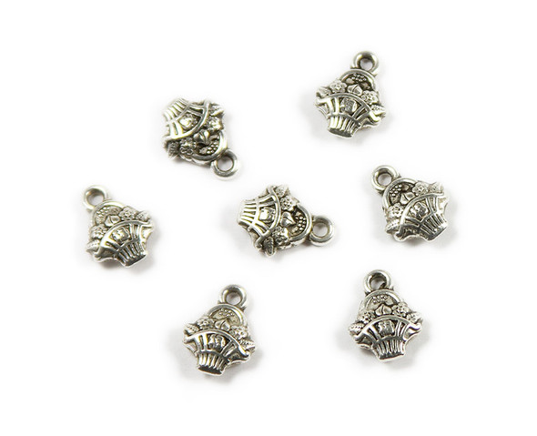10x10mm  pack of 10 Bali style silver pewter garden basket charms
