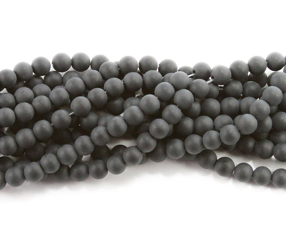 8mm Black Matte Agate Round Beads