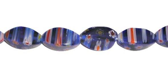 8x14mm Blue With Stripes Millefiori Glass Twist Beads