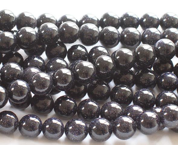 6mm Blue Goldstone Round Beads
