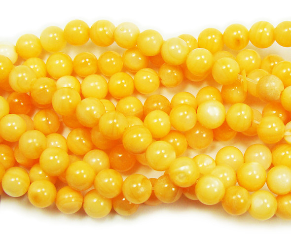 6mm 16 Inches Mother Of Pearl Orange Round Beads