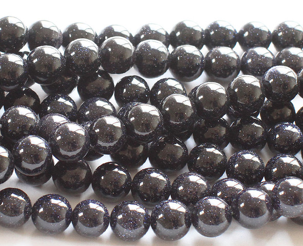 10mm Blue Goldstone Round Beads