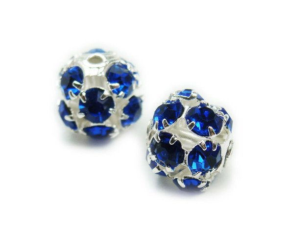 6mm  pack of 20  blue Fancy CZ spacer round beads in silver