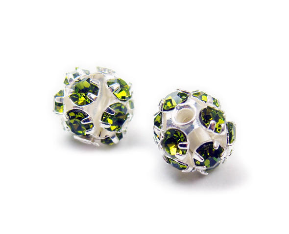 6mm  pack of 20  peridot green Fancy CZ spacer round beads in silver