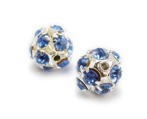 8mm  pack of 10  sky blue Fancy CZ spacer round beads in silver