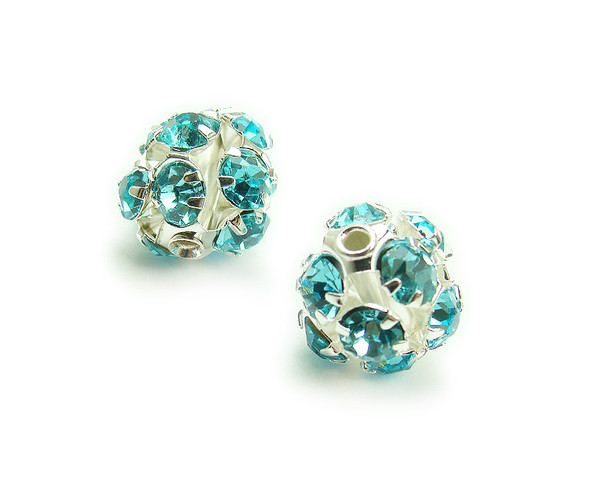 8mm  pack of 10  sea blue Fancy CZ spacer round beads in silver