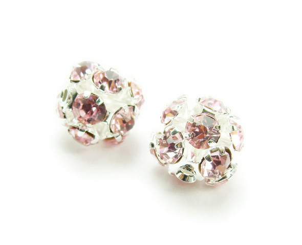 8mm  pack of 10  pink Fancy CZ spacer round beads in silver