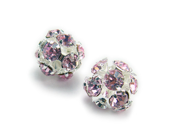 10mm  pack of 4  light purple Fancy CZ spacer round beads in silver