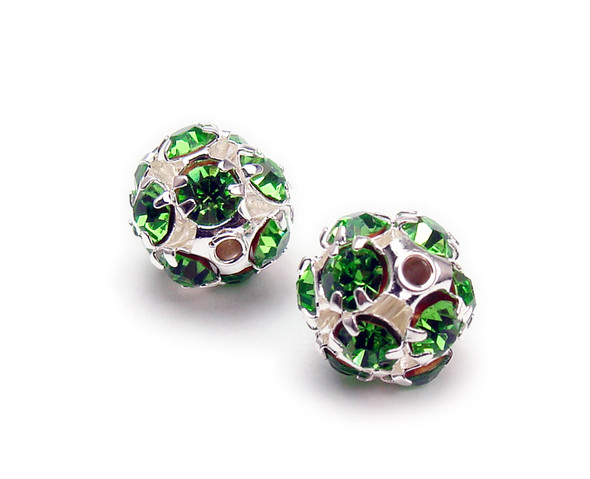 10mm  pack of 10  bright green Fancy CZ spacer round beads in silver