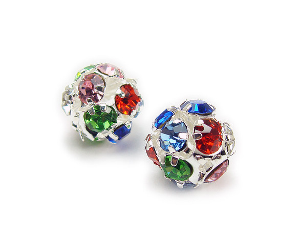 10mm  pack of 10  multi color Fancy CZ spacer round beads in silver