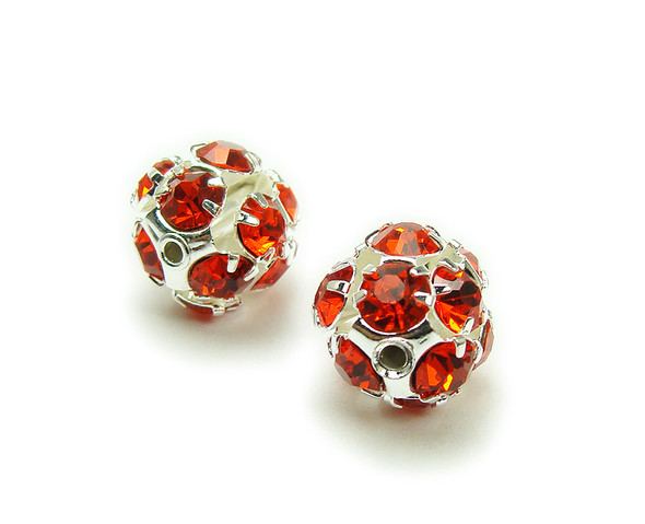 10mm  pack of 10  red Fancy CZ spacer round beads in silver
