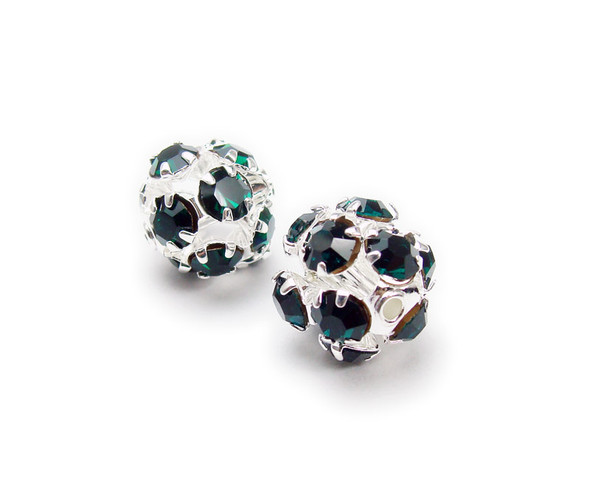 10mm  pack of 10  dark emerald green Fancy CZ spacer round beads in silver