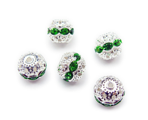 10mm  pack of 10  bright green CZ spacer round beads in silver