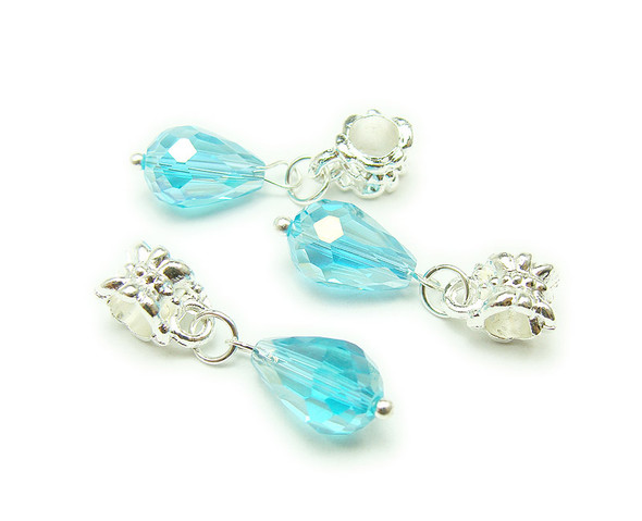 8x12mm  pack of 5 Sky blue faceted glass briolette with AB and silver plated hanger
