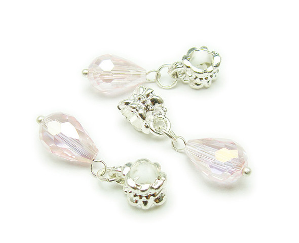 8x12mm Pack Of 5 Pink Faceted Glass Briolette With Ab And Silver Plated Hanger
