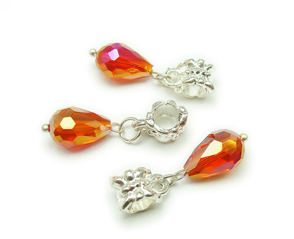 8x12mm Pack Of 5 Orange Faceted Glass Briolette With Ab And Silver Plated Hanger