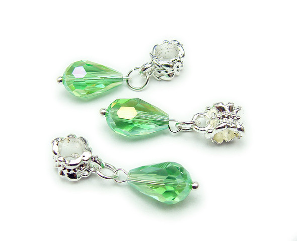 8x12mm Pack Of 5 Green Faceted Glass Briolette With Ab And Silver Plated Hanger