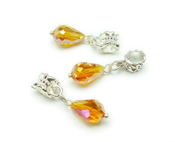 8x12mm Pack Of 5 Yellow Faceted Glass Briolette With Ab And Silver Plated Hanger