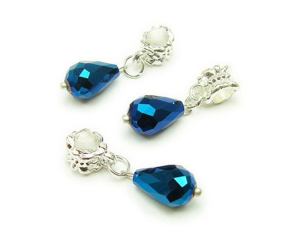 8x12mm  pack of 5 Blue faceted glass briolette with AB and silver plated hanger