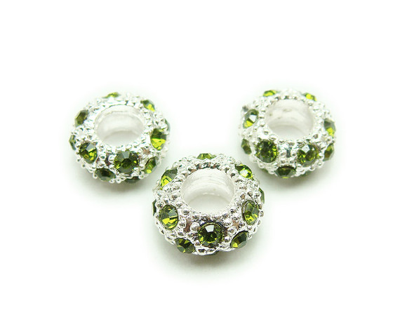 5x11mm Pack Of 6 Peridot Green Cz Silver Rondelle Spacer Beads