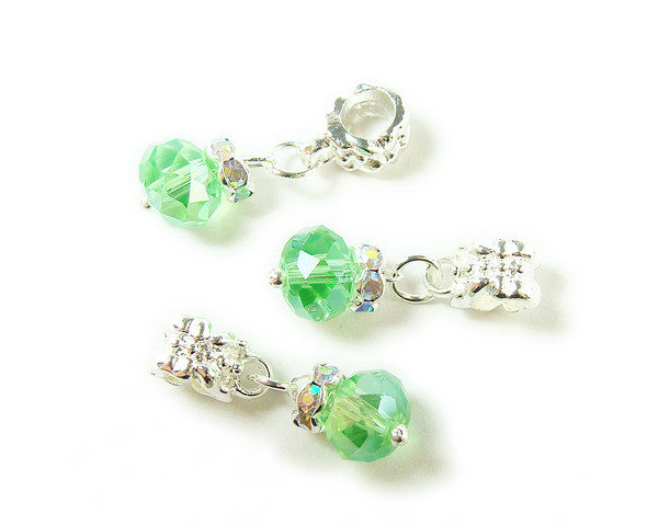 5x8mm  pack of 5 Green faceted glass rondelle with AB and silver plated hanger