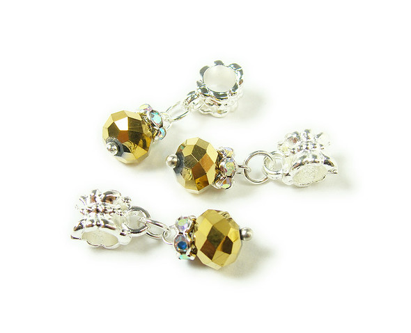 5x8mm  pack of 5 Gold faceted glass rondelle with AB and silver plated hanger