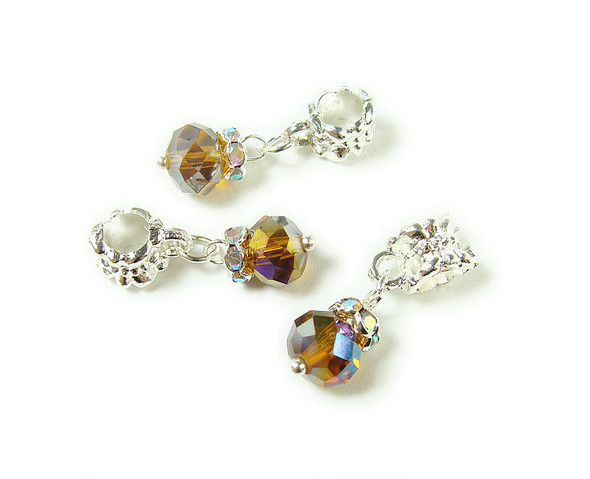 5x8mm Pack Of 5 Amber Yellow Faceted Glass Rondelle With Ab And Silver Plated Hanger