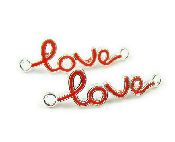 "12x40mm  priced for  6 pieces Red ""love"" cursive silver metal connecter"