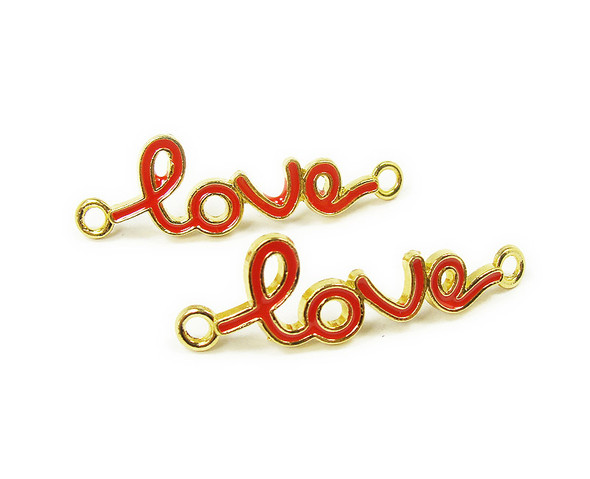 "12x40mm  priced for 6 pieces Red ""love"" cursive gold metal connector"
