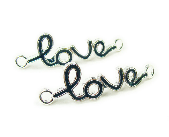 "12x40mm  priced for 6 pieces Deep blue ""love"" cursive silver metal connector"