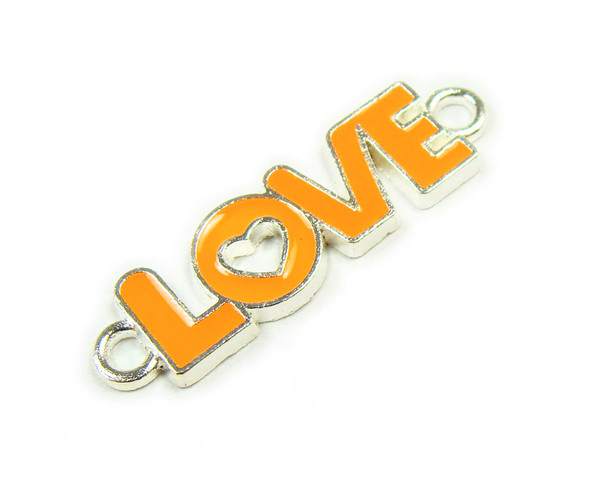 "10x35mm  price for 6 pieces Neon orange ""love"" flat silver metal connector"