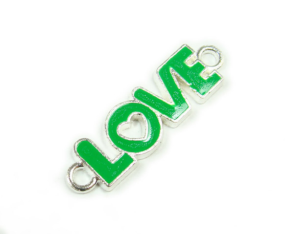 "10x35mm  price for 6 pieces Green ""love"" flat silver metal connector"