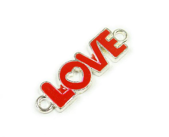 "10x35mm  price for 6 pieces Red ""love"" flat silver metal connector"