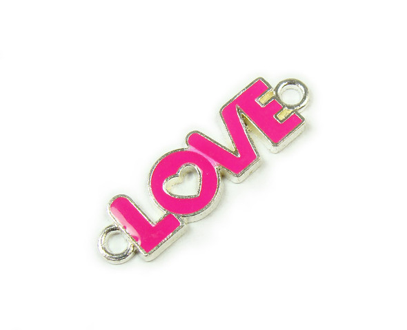 "10x35mm  price for 6 pieces Hot pink ""love"" flat silver metal connector"