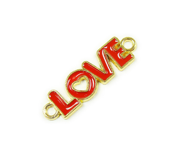 "10x35mm  price for 6 pieces Red ""love"" flat gold metal connector"