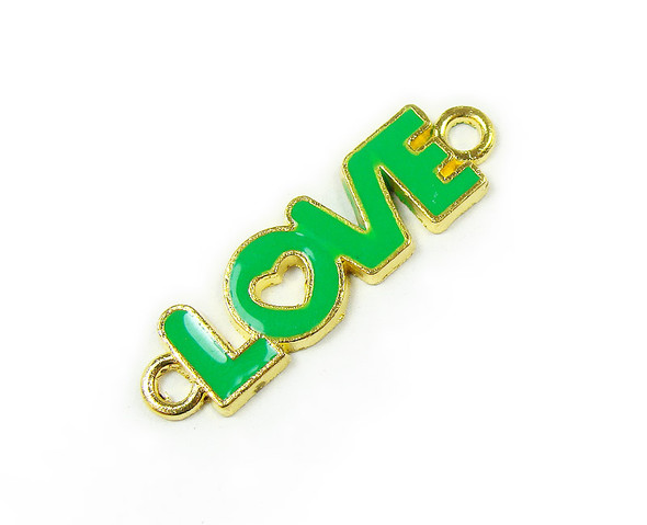 "10x35mm  price for 6 pieces Green ""love"" flat gold metal connector"