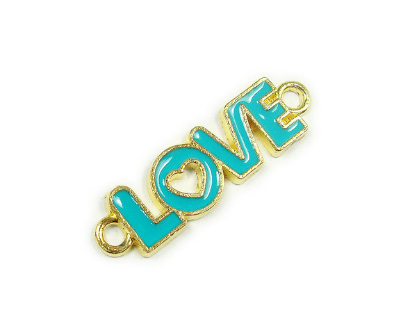 "10x35mm  price for 6 pieces Turquoise blue ""love"" flat gold metal connector"