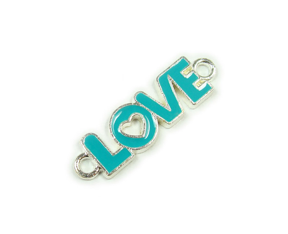 "10x35mm  price for 6 pieces Turquoise blue ""love"" flat silver metal connector"