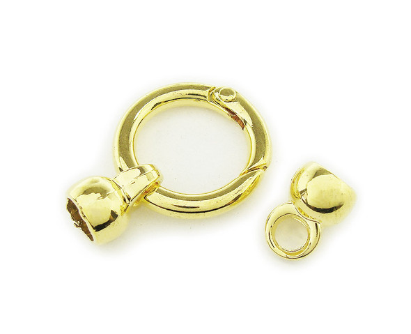 24mm Pack Of 2 Gold Plated Spring Loop Metal Clasp