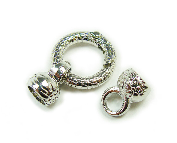 22mm Pack Of 2 Silver Plated Spring Textured Loop Metal Clasp