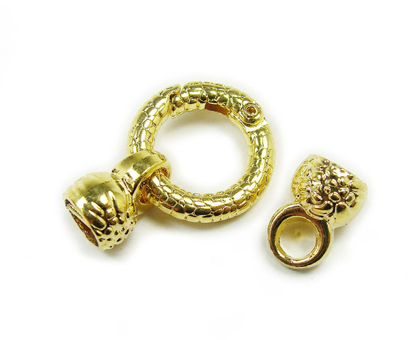 22mm Pack Of 2 Gold Plated Spring Textured Loop Metal Clasp