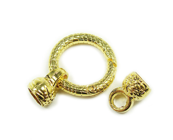 24mm Pack Of 2 Gold Plated Spring Textured Loop Metal Clasp