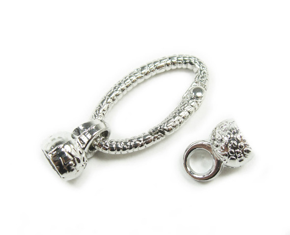 18x32mm Pack Of 2 Silver Plated Spring Textured Oval Loop Metal Clasp