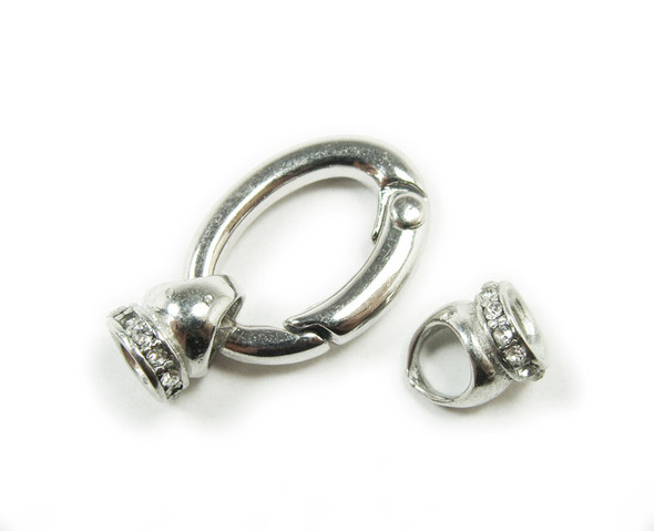 15x22mm Pack Of 2 Silver Plated Oval Spring Clasp With Cz Stones