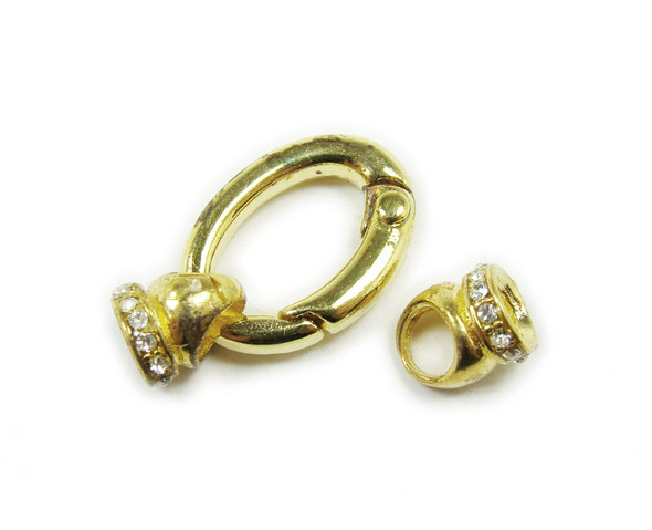 15x22mm Pack Of 2 Gold Plated Oval Spring Clasp With Cz Stones