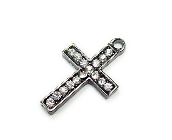 15x22mm  pack of 2 Black metal cross charm with CZ stones