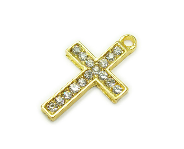 15x22mm Pack Of 2 Gold Metal Cross Charm With Cz Stones