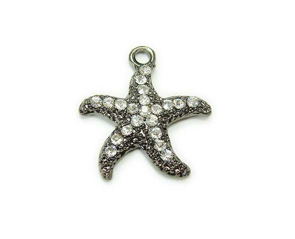 20x20mm  pack of 2 Black metal starfish charm with CZ stones
